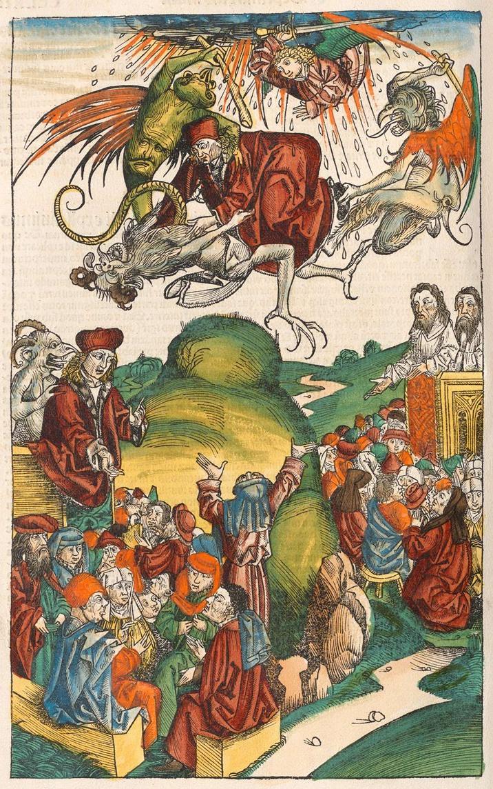 La caduta di Simon Mago, miniatura del XV secolo