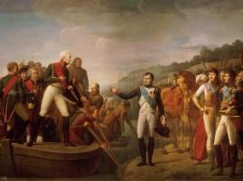 Lo zar Alessandro I e Napoleone dopo gli accordi di pace a Tilsit nel 1807