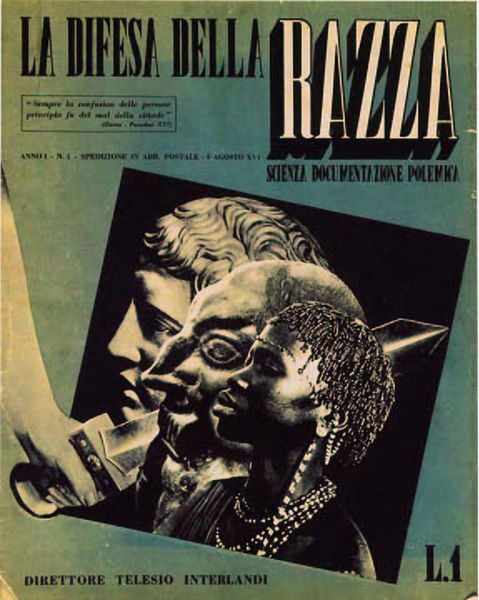 Copertina del primo numero de La difesa della razza, 1938