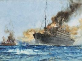 IL Cap Trafalgar colpito dal Carmania, settembre 1914