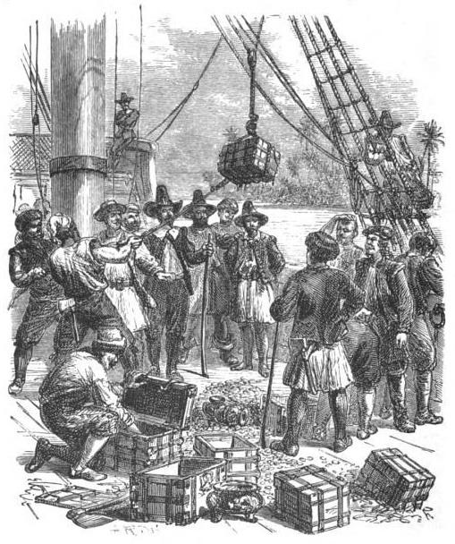 I tesori recuperati da William Phips in una stampa del XIX secolo