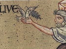 Noè, la colomba e il ramoscello di olivo in un mosaico del duomo di Monrealecon il ramoscell