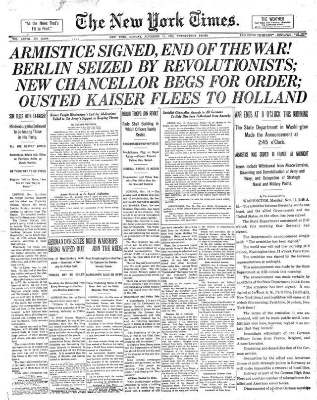 La prima pagina del New York Times dell11 novembre 1918