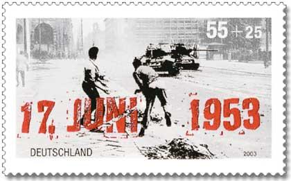Francobollo dedicato al 50° anniversario della rivolta del 17 giugno 1953