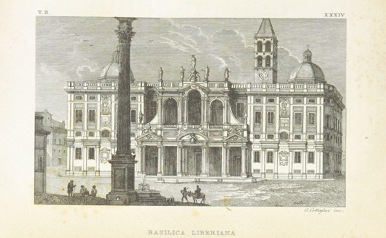 La basilica di Santa Maria Maggiore in una incisione del XIX secolo