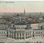 Veduta dell'Hofburgtheater e del duomo di Santo Stefano a Vienna, 1909