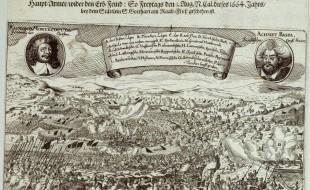 La battaglia in una stampa del XVII secolo