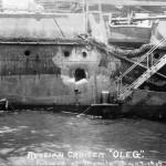 I danni riportati dall'incrociatore russo Oleg a Tsushima