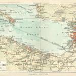 San Pietroburgo e la fortezza di Kronstadt in una mappa tedesca del 1888