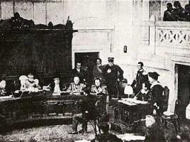 Udienza in un tribunale speciale durante il fascismo