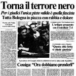 Prima pagina de la Repubblica sulla strage di Bologna