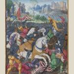 Francesco I carica gli svizzeri a Marignao, miniatura di Noël Bellemare, 1529