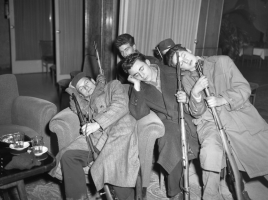 1956-11-02._Sleeping_resistance_fighters_with_rifles_in_Budapest