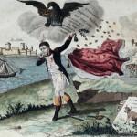 Napoleone in partenza per l'isola d'Elba, caricatura d'epoca