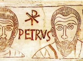 Pietro e Paolo in una incisione del IV secolo rinvenuto in una catacomba