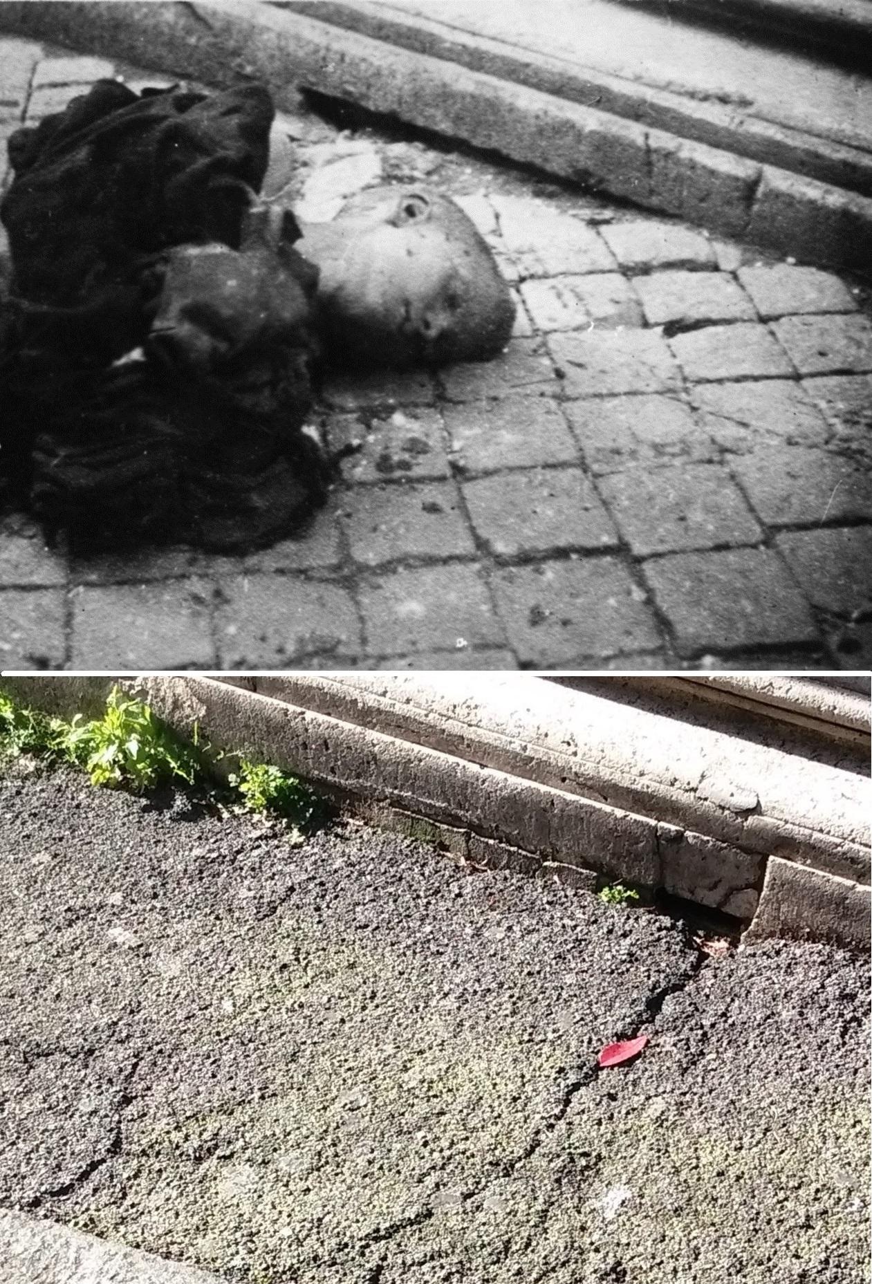 La foto con il corpo di Zuccheretti dichiarata; in basso lo stesso luoto durante un nostro sopralluogo nell'aprile 2015.