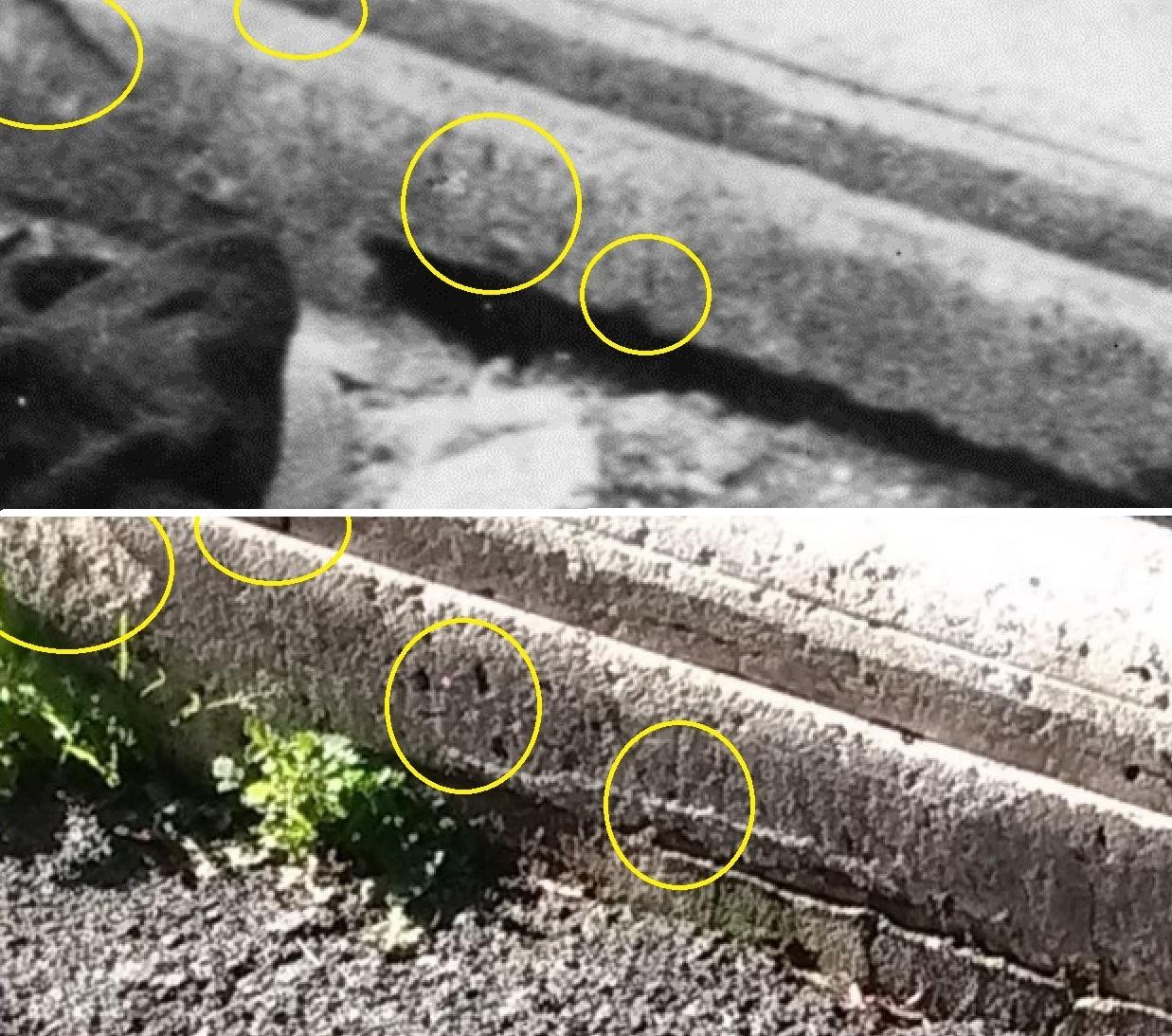 Sopra, il dettaglio sinistro del cordolo di palazzo Tittoni; sotto, dettaglio da un nostro sopralluogo nell'aprile 2015.
