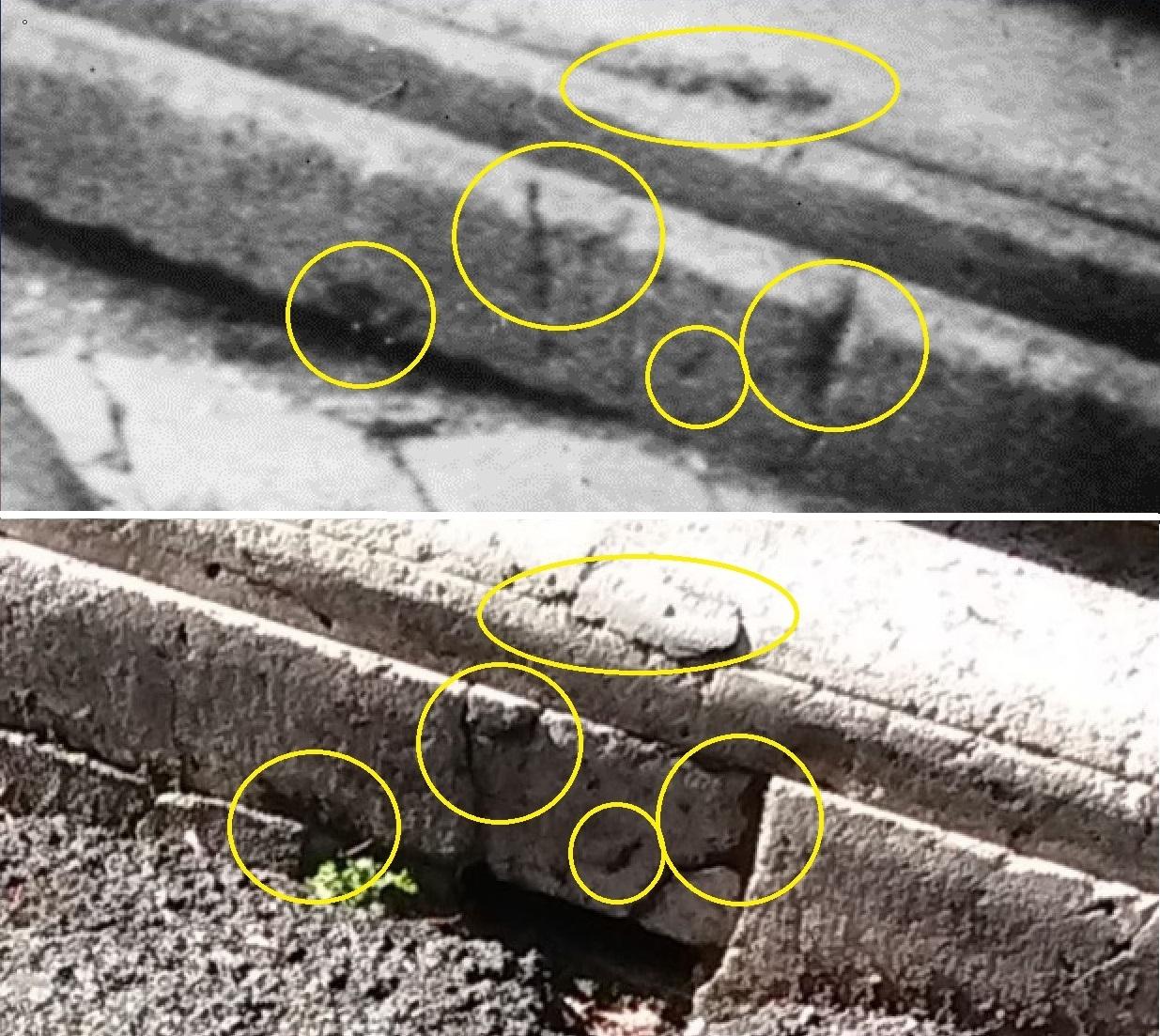 La porzione sinistra del cordolo che compare nella foto di Zuccheretti, ieri e oggi (nostro sopralluogo dell'aprile 2015).