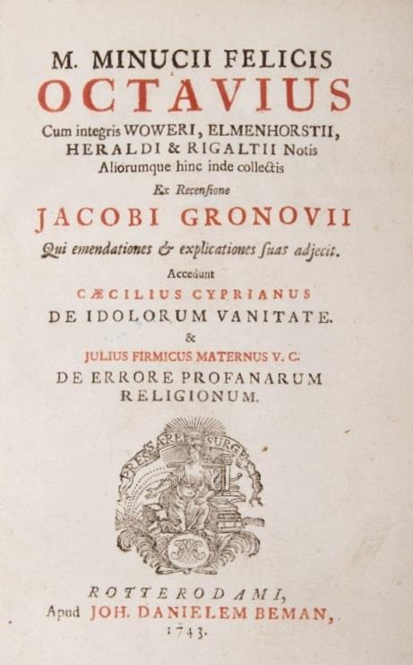 Frontespizio di una edizione dell'Octavius del 1743