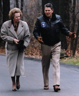 Reagan e Thatcher a Camp David nel 1986