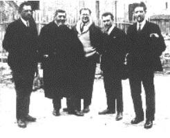 Da sinistra, Da Bove, Turati, Rosselli, Pertini e Parri