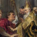 L'imperatore Teodosio e sant'Ambrogio, dipinto di Antoon Van Dyck, particolare