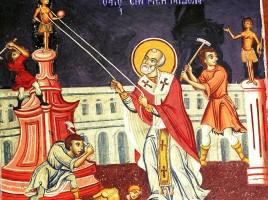 San Nicola distrugge i templi pagani, affresco nel monastero di Esphigmenou