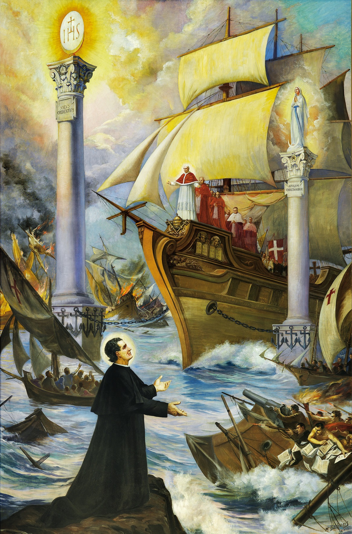 Il sogno di Don Bosco sul futuro della Chiesa, dipinto di M. Barberis