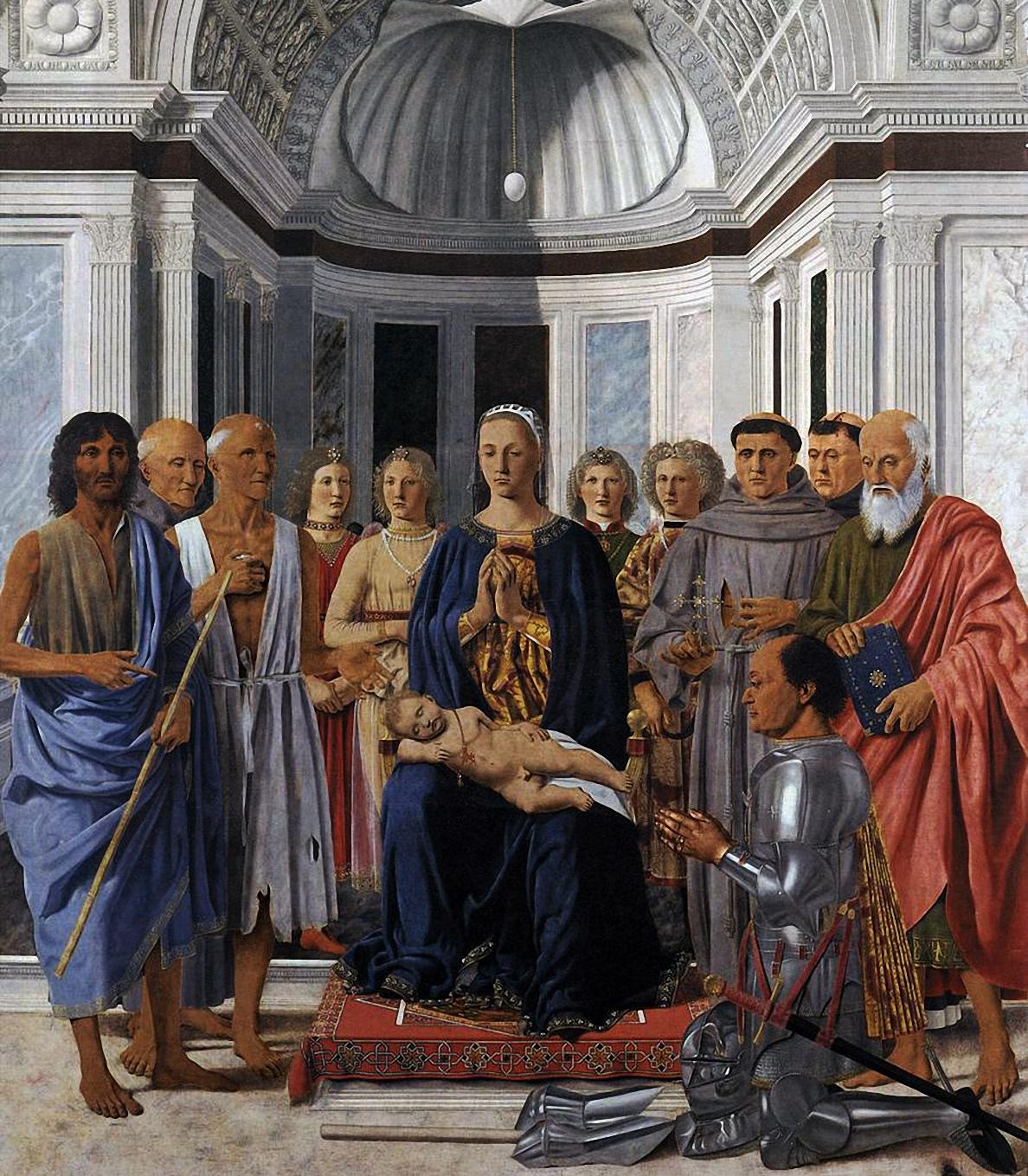 Madonna con Bambino Angeli e Santi, di Piero della Francesca
