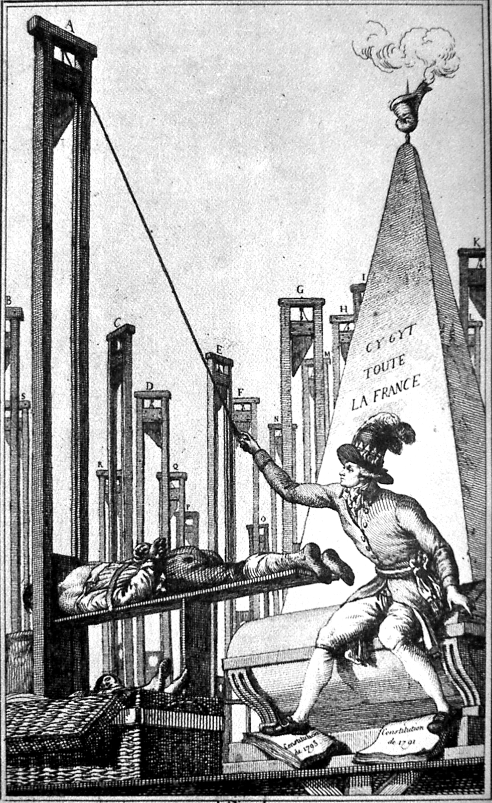 Robespierre decapita il boia non avendo più altri da decapitare, caricatura del XVIII secolo.