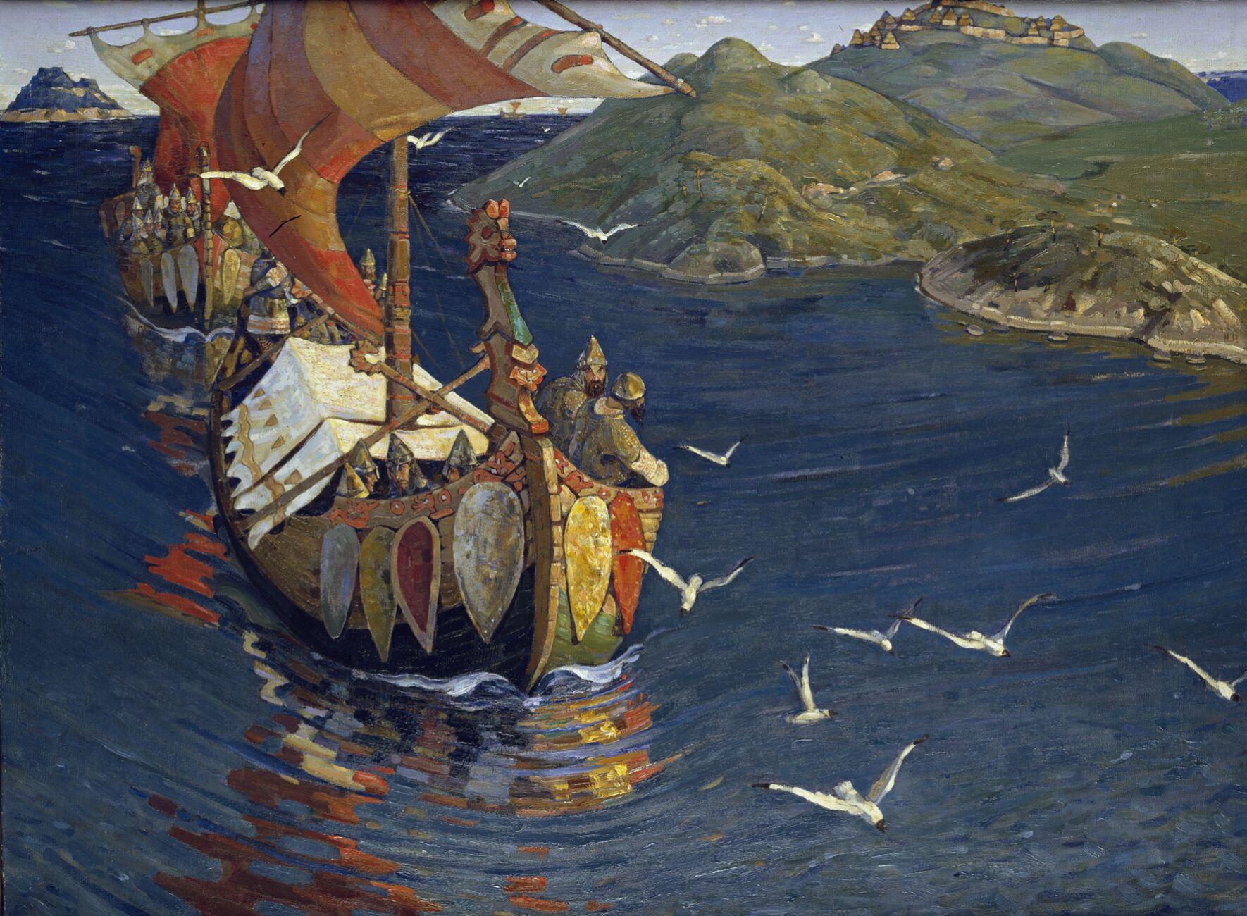Una nave variaga  nel quadro Ospiti d'oltremare di Nicholas Roerich
