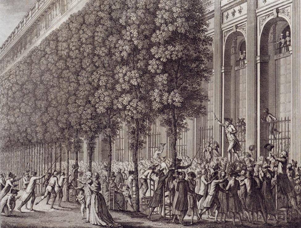 Camille Desmoulins arringa la folla davanti al Palais Royal, 1789