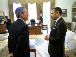 Re Mohammed VI con George Bush nel 2002