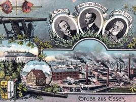 AK-Essen-Krupp-Werke-Villa-Huegel-Stammhaus-Alfred-Krupp-Gustav-Krupp-von-Bohlen-Halbach-Kanone-Wappen