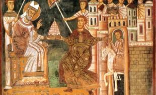 L'imperatore Costantino offre a papa Silvestro I la tiara imperiale, simbolo del potere temporale, affresco nell'oratorio di san Silvestro, Roma
