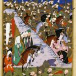 Maometto alla battaglia di Uhud, illustrazione del 1595