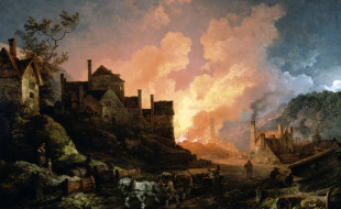 Painting, Coalbrookdale by Night, di Philippe Jacques de Loutherbourg, 1801.