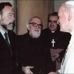 Corrado Simioni con l'Abbé Pierre e papa Giovanni Paolo II