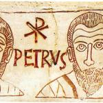 Gli apostoli Pietro e Paolo. Catacombe di Sant'Ippolito (Roma). IV secolo. Parte di lapide  che ricorda  il ragazzo Asello