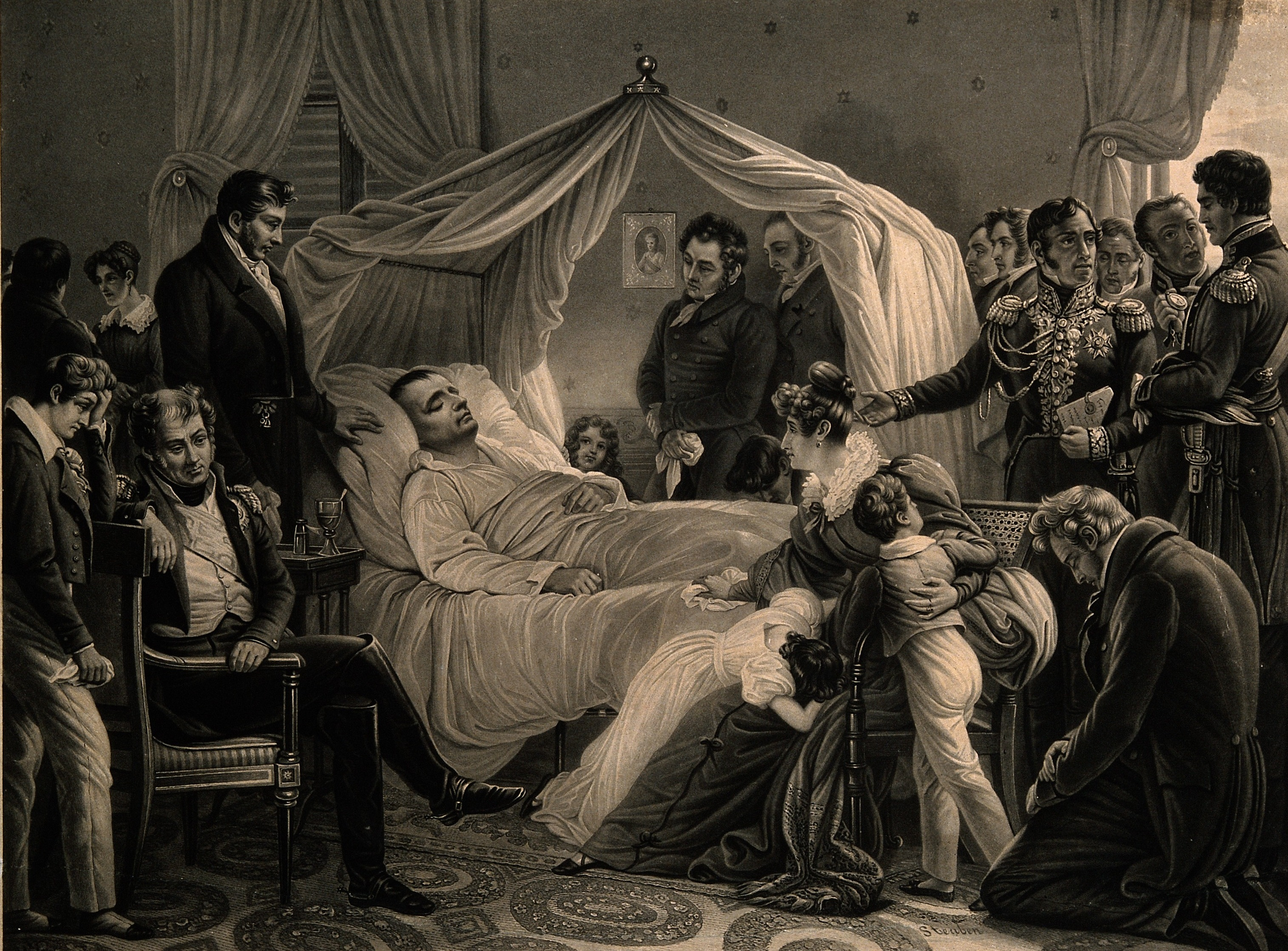 V0006858 The death of Napoleon Bonaparte at St Helena in 1821. Lithog