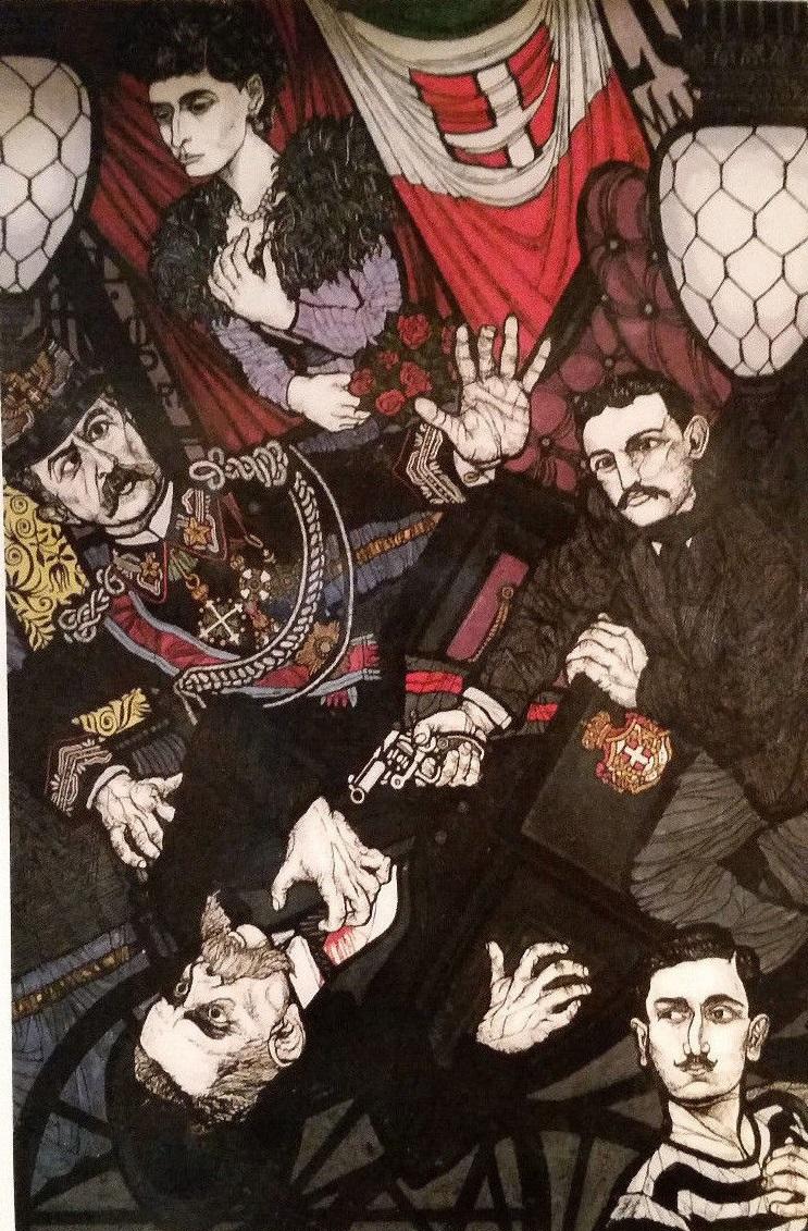 Gaetano Bresci spara a Umberto I, di Flavio Costantini, 1974