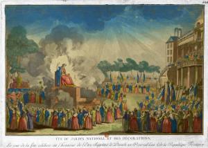 La festa dell'Essere Supremo al giardino nazionale, Parigi, 1794.