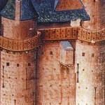 Latrina a sporto sulla parete di un castello