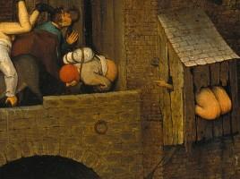 Latrina, particolare di Proverbi fiamminghi, Pieter Brueghel il Vecchio