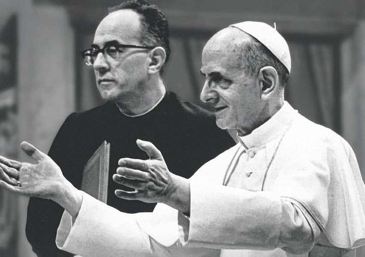 L'arcivescovo Pasquale Macchi con Paolo VI