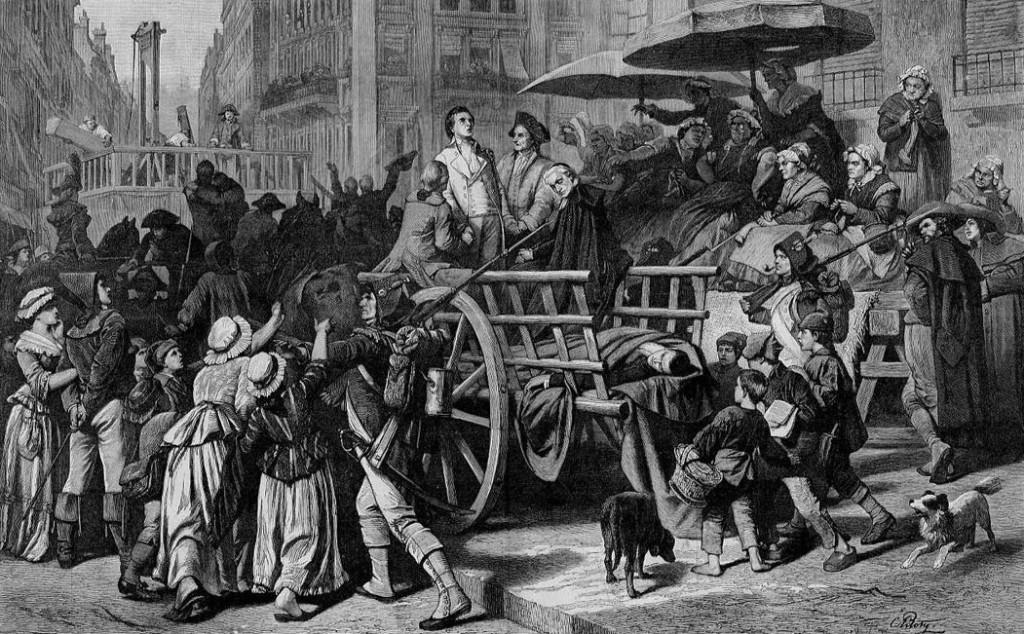 Un carro conduce i condannati alla ghigliottina