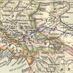 Percorsi della Via Appia: in rosso l'Appia Antica, in blu l'Appia Traiana.